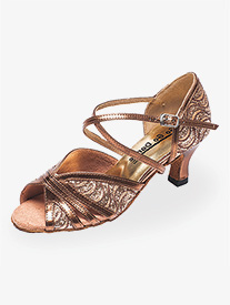 Womens 2.5 Heel Bronze Glitter Ballroom Shoes