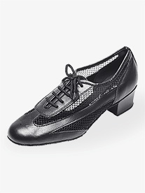 Womens 1.5 Heel Black Net Practice Ballroom Shoes