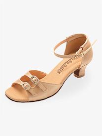 Womens 1.3 Heel Tan Rhinestone Buckle Ballroom Shoes