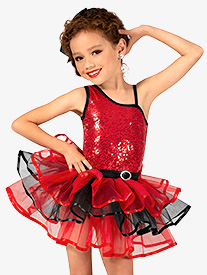 Girls Asymmetrical Sequin Costume Tutu Dress