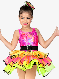 Girls Performance Contrast Three-Tier Tank Tutu Dress