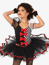 Girls Performance Asymmetrical Checkered Tutu Dress