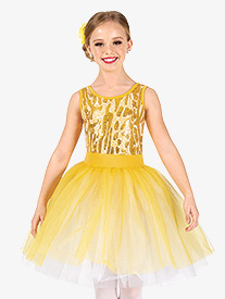 Girls Performance Animal Print Sequin Tutu Dress