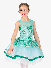 Girls Performance Two-Tone Floral Tank Tutu Dress