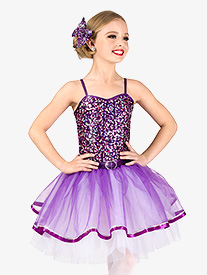 Girls Performance Purple Sequin Camisole Tutu Dress