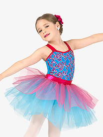 Girls Performance Contrast Floral Sequin Tank Tutu Dress