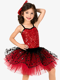 Girls Performance Two-Tone Sequin Dot Tutu Dress