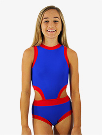 Girls Blue and Red Side Cutout Tank Leotard