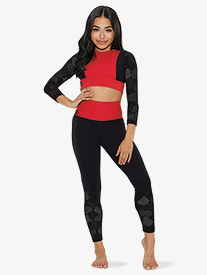 Womens Two-Tone Honeycomb Cutout Dance Leggings