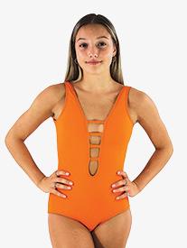Girls Mandarin Orange Strappy Front Tank Leotard