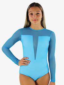 Girls/Womens Sheer Mesh Long Sleeve Leotard
