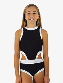Girls Black and White Side Cutout Tank Leotard
