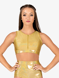 Womens Iridescent Performance Zip Front Bra Top