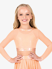 Girls Mesh Iridescent Performance Long Sleeve Crop Top