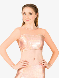 Womens Iridescent Performance Mesh Long Sleeve Crop Top