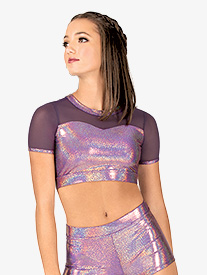 Womens Iridescent Performance Mesh Short Sleeve Crop Top