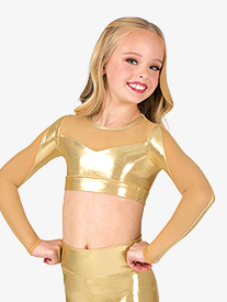 Girls Performance Metallic Mesh Long Sleeve Crop Top
