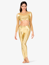 Womens Performance Metallic Full-Length Leggings