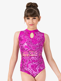 Girls Performance Sequin Lace Tank Leotard