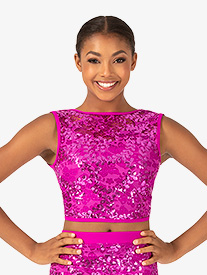 Womens Performance Sequin Lace Tank Crop Top