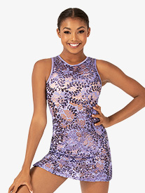 Womens Performance Sequin Lace Tank Dress