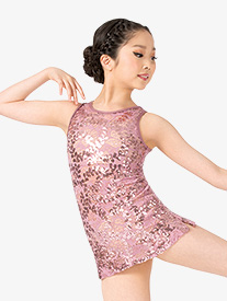 Girls Performance Sequin Lace Tank Dress