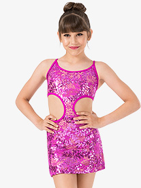 Girls Performance Sequin Lace Side Cutout Camisole Dress