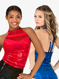 Womens Team Velvet Foil Team Halter Top