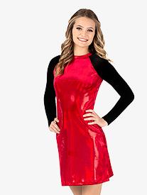 Womens Team Velvet Foil Long Sleeve Dress