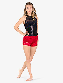 Womens Team Velvet Foil High Waist Shorts