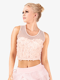 Adult Rose Petal Mesh Tank Crop Top
