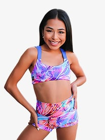 Girls Tropical Print Banded Dance Shorts