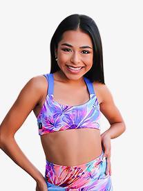 Girls Tropical Print Dual Tank Dance Crop Top