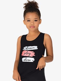 Girls Dream Play Shine Knot Back Dance Tank Top