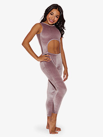 Girls All Zipped Up Cutout Tank Dance Unitard