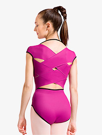 Womens Reversible Crisscross Cap Sleeve Leotard