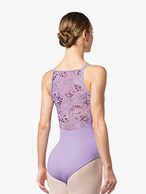 Womens Floral Printed Mesh Camisole Leotard