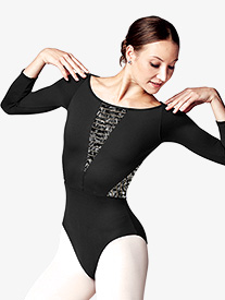 Womens Lily Printed Mesh 3/4 Sleeve Leotard