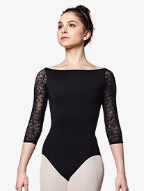 Womens Lace Boat Neck 3/4 Sleeve Leotard