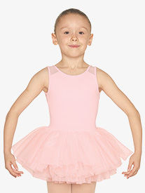 Girls Heart Mesh Insert Tank Ballet Tutu Dress
