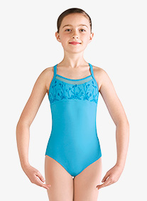 Girls Embroidered Floral Mesh Camisole Leotard