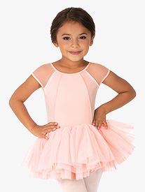 Girls Velvet Open Bow Back Tank Ballet Tutu Dress