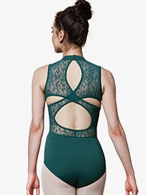 Womens Lace Keyhole Back Tank Leotard