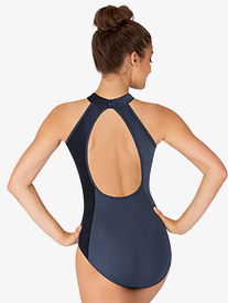 Womens Velvet Open Back Halter Leotard