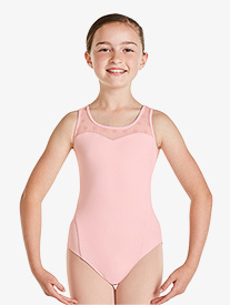 Girls Polka Dot Mesh Tank Leotard