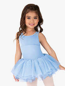 Girls Velvet Mesh Back Tank Ballet Tutu Dress