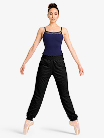 Womens Gathered Waistband Warm Up Sweat Pants