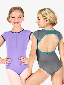Girls Lily Zip Front Short Sleeve Leotard