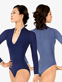 Womens Eva Two-Tone Mock Neck Long Sleeve Leotard