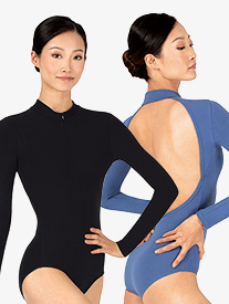 Womens Sueded Cotton Mock Neck Long Sleeve Leotard